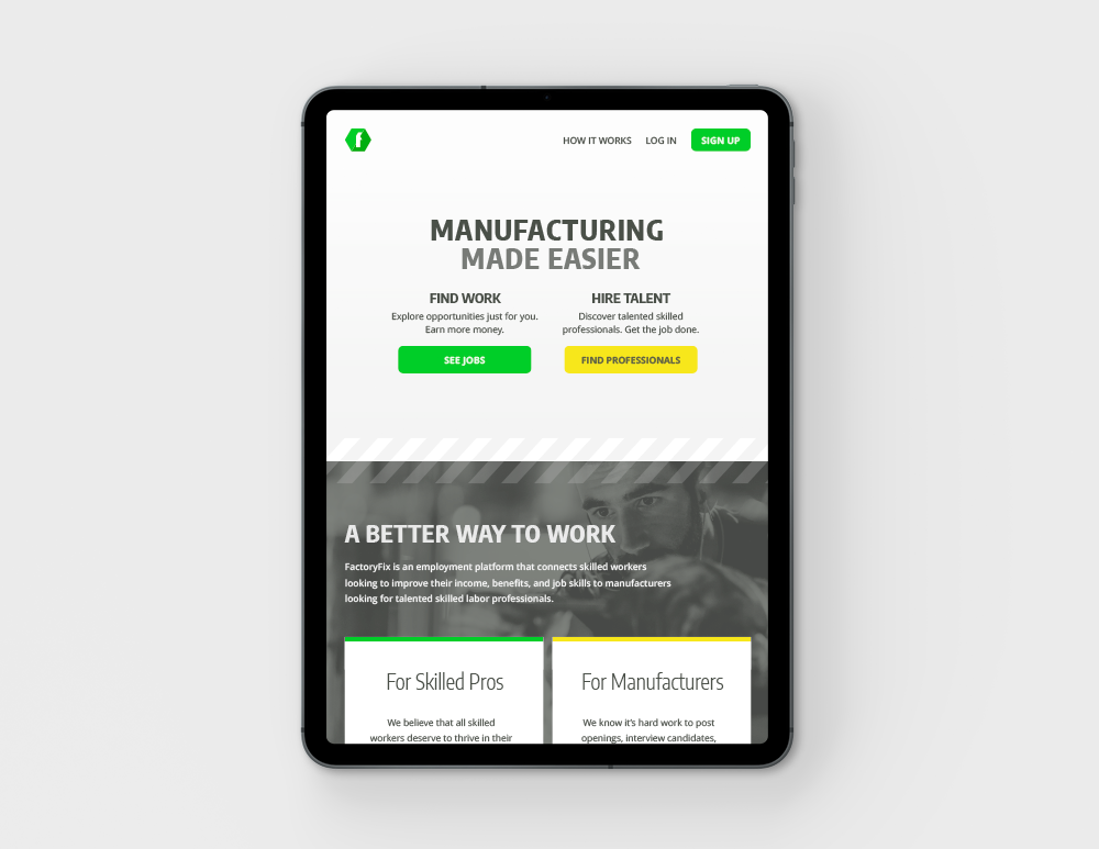 Factory Fix Website Mockup on Tablet
