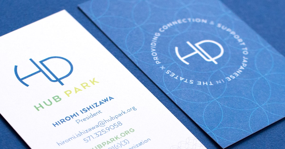 Hub Park business card front and back view.